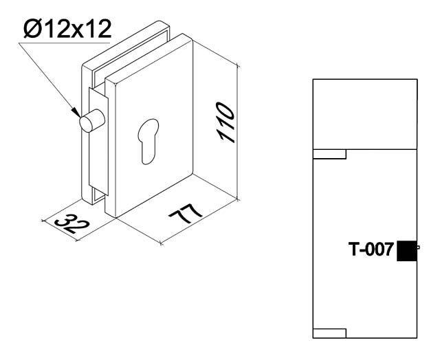 Крепеж для стеклянных дверей 77