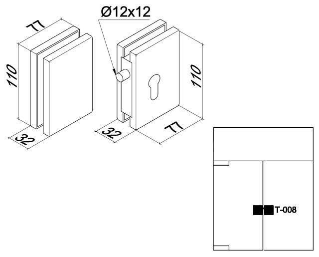 Крепеж для стеклянных дверей 81