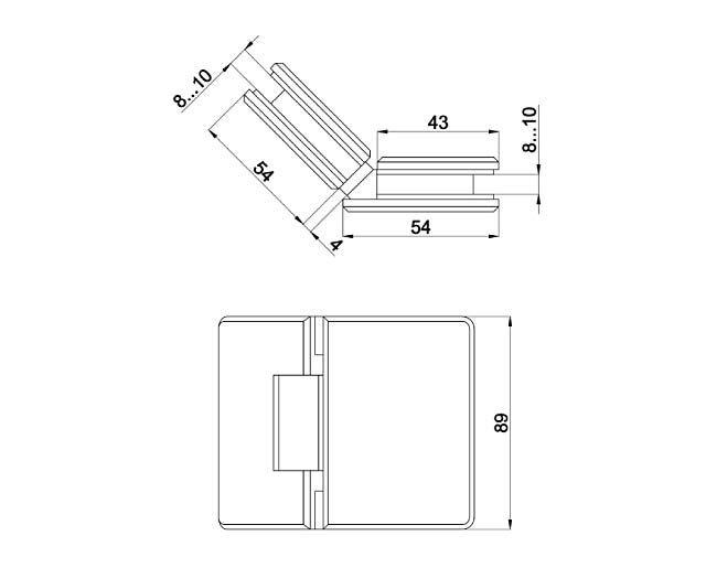 Крепеж для стеклянных дверей 17
