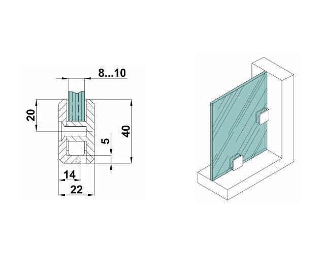 Крепеж для стеклянных перегородок 10